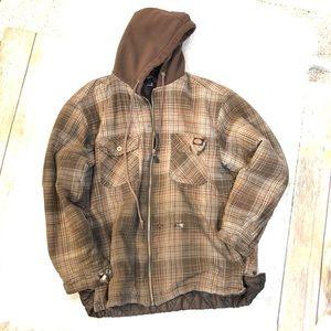 Dickies Quilted Flannel Full Zip Hoodie Jacket L